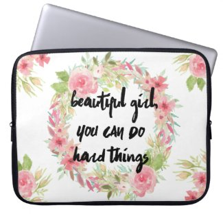 Beautiful Girl YOU CAN DO Hard Things Laptop Case Laptop Computer Sleeve