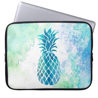 blue pineapple on watercolor splash laptop computer sleeves