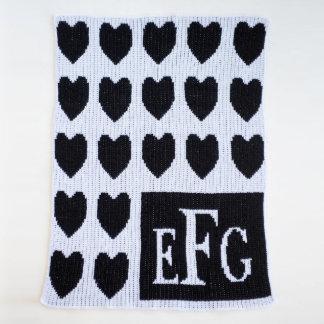 Monogrammed Black & White, Hearts Blanket