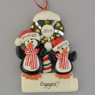 Engaged Penguins Personalized Clay Dough Ornament