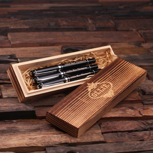 Wooden Case & Set of 3 Silver Hardware Black Pens