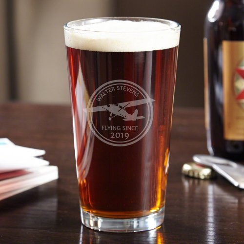 Engraved Commemorative Aviator Pint Beer Glass