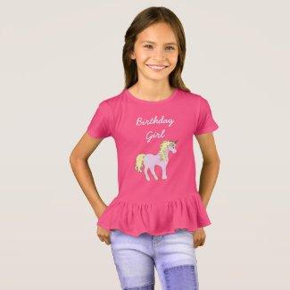 Birthday Girl, Pink Unicorn Shirt