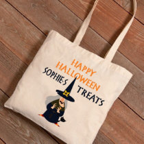 Happy Halloween Witches Cat Canvas Tote Bag