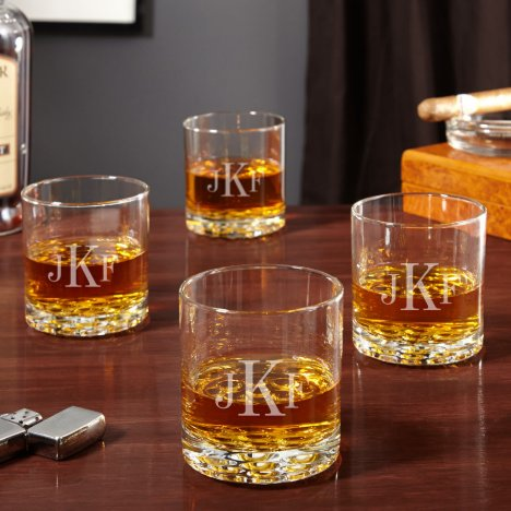 Set of 4 Monogram Buckman Whiskey Glasses