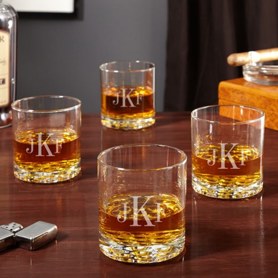 Set of 4 Monogram Buckman Whiskey Glasses