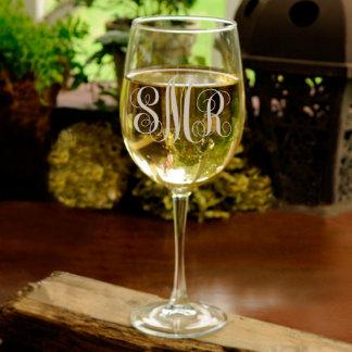 Personalized White Wine Glass w/ Monogram