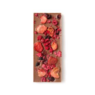 Dried Strawberry, Cranberry and Raspberry Milk Chocolate Bar