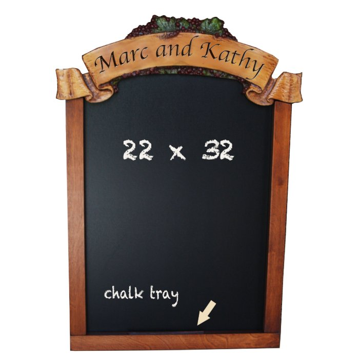 Custom Wedding Chalkboard with Wine Grape Accents