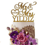 """Personalized Last Name & Date Cake Topper w/Heart<br><div class=""""desc"""">Each topper is laser cut from 1/8 inch thick acrylic,  Width: 5""""-6"""" Side to side (The exact height of this topper will depend on what width is chosen and what the last name is used.)Your cake topper will be ready in just one business day.</div>"""