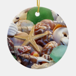 Seashells, Starfish & Beach Glass Ornament