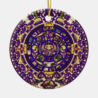 mayan calendar ceramic ornament