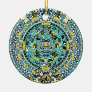 mayan calendar ceramic ornament