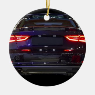 black car, red lights ceramic ornament