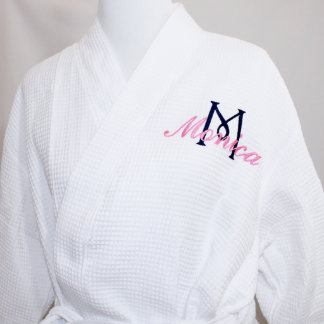 White Waffle Robe with Name & Initial