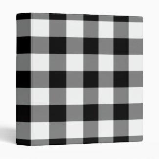 Black and White Gingham Pattern 3 Ring Binder