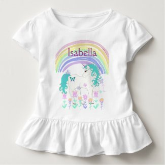 Personalized Pink and TeaUnicorn and Rainbow Shirt