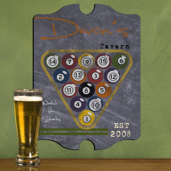 Personalized Man Cave Bar Signs - Billiards