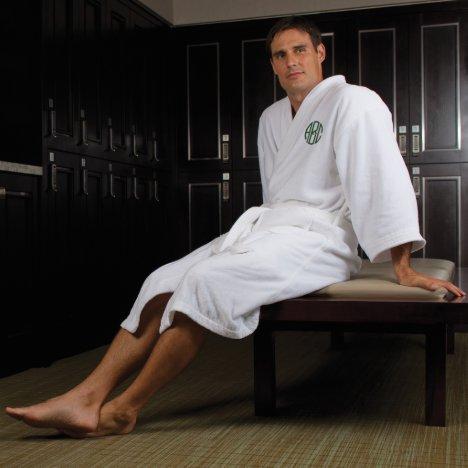 Men's White Kimono-style Monogrammed Cotton Robe