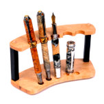 Maple and Ebony Hardwood Handcrafted 5 Pen Stand