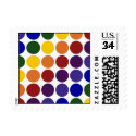 Rainbow Polka Dots on White – Small Postage
