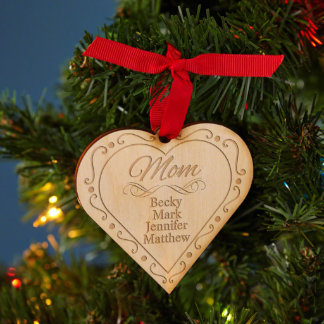 Family Christmas Engraved Wooden Ornament
