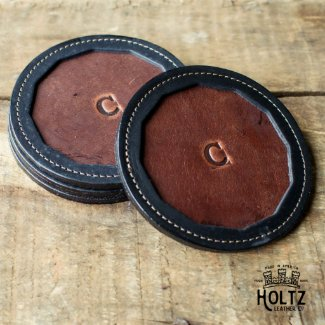 The Tavern Fine Leather Coaster Set of 4
