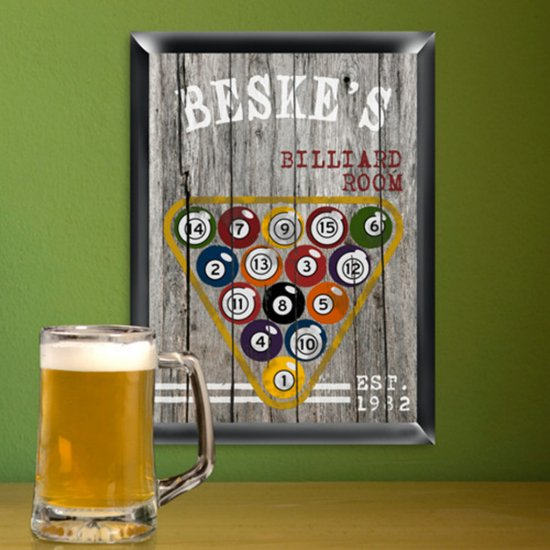 Personalized Man Cave Billiards Pub Sign
