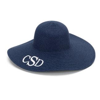 Navy Blue Floppy Beach Hat w/White Monogram