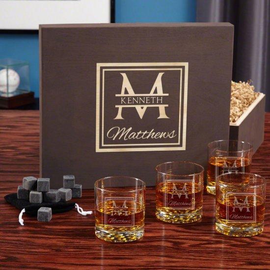 Oakhill Monogram Set with Buckman Whiskey Glasses
