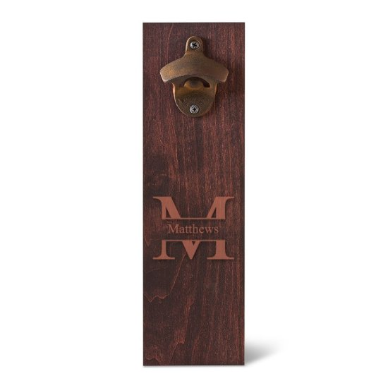 Monogram Wall Mounted Bottle Opener - Stamped