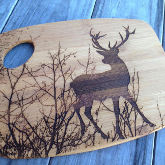Laser Engraved Bamboo Cutting Board, Deer