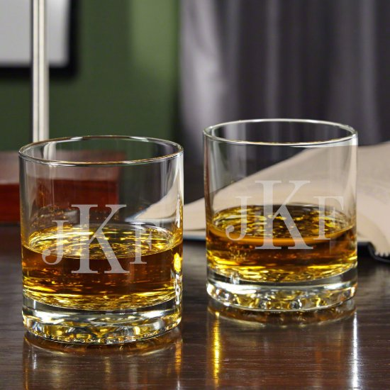 Set of 2 Monogram Buckman Whiskey Glasses