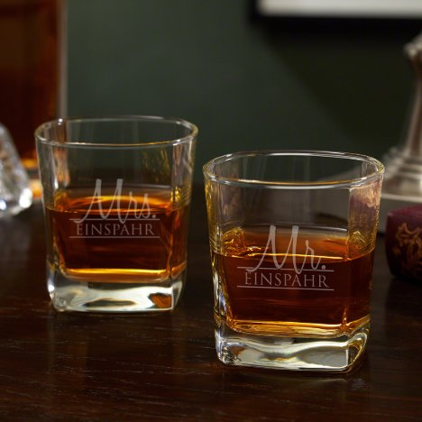 Set of 2 Couple Wedding Square Whiskey Glasses