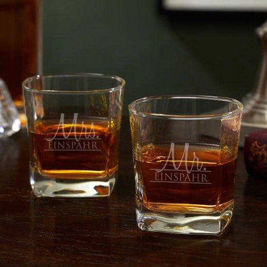 Set of 2 Couple Wedding Square Whiskey Glasses