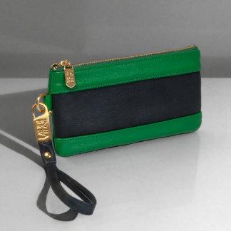 Dark & Light Green Leather Color Block Wrist