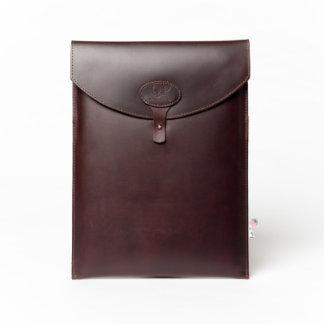 """Dark Brown Leather Monogrammed 13"""" Laptop Sleeve"""