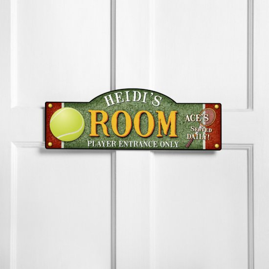 Personalized Tennis Aces Served Daily Room Sign
