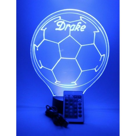 Soccer Ball Night Light Up Lamp LED Personalized