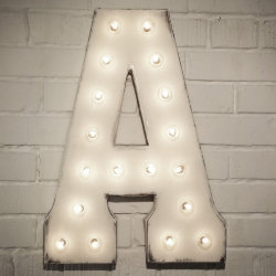 "Custom 21"" White Letter ""A"" Vintage Marquee Sign"