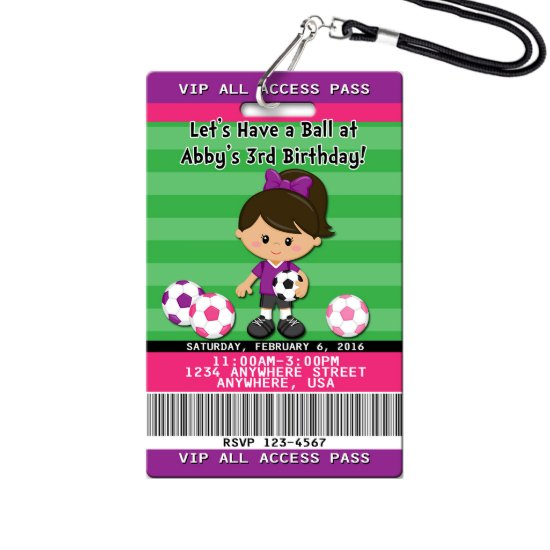 Soccer Birthday Invitations Plastic VIP Pass Girl