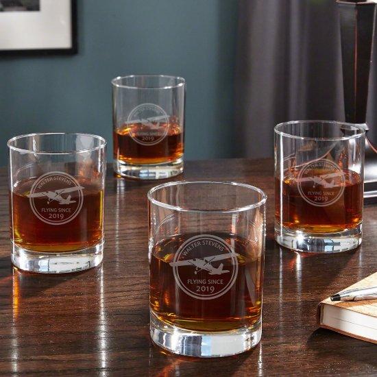 Set of 4 Engraved Aviator Whiskey Glasses