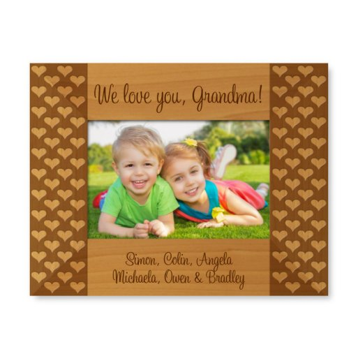 Cute Engraved Hearts 9x7 Wooden Picture Frame