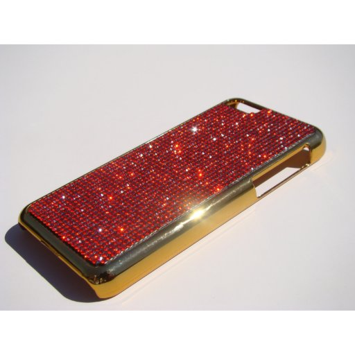iPhone 5C Gold Chrome Case - Red Siam Crystals