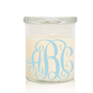Scented Two Wick Monogram Candle w/Blue Vine Font