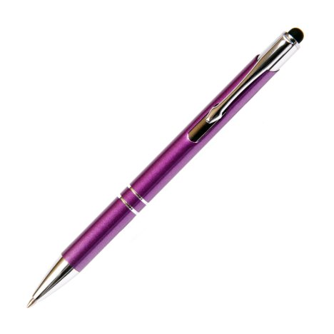 Purple Aluminum Ball Point Pen w/Stylus