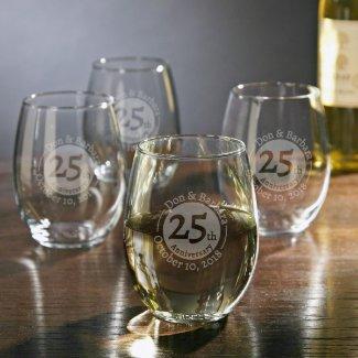 Set of 4 Anniversary Stemless Wine Glasses