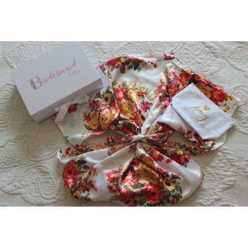 Beautiful And Comfy Floral Bridesmaid's Satin Robe