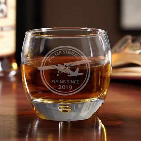 Aviator Proud Pilot Uptown Engraved Whiskey Glass