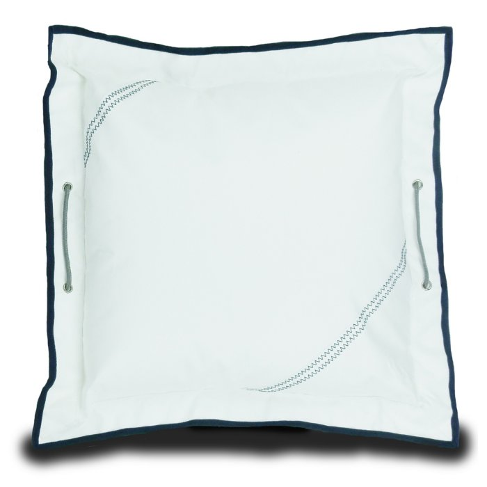 White w/Blue Trim Marine Grade Sail Cloth Pillow